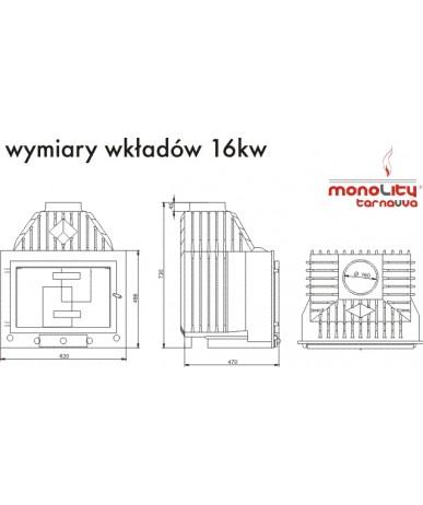 Wkład kominkowy Monolity Tarnavva FLAT 16kW