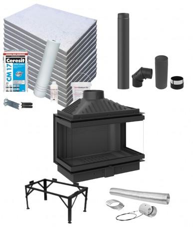 Wkład kominkowy KFD Eco max 7 3f standard z zestawem montażowym