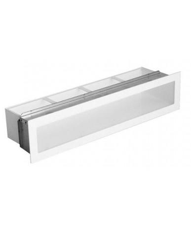 Kratka kominkowa V-OPEN-IR 100x450 biała z ramą