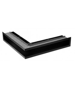 Kratka kominkowa V-OPEN-LR 100x500x500 czarna matowa narożna z ramą
