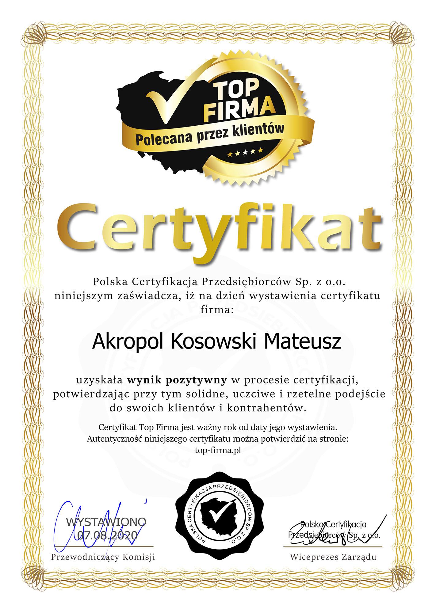 certyfikat top firma