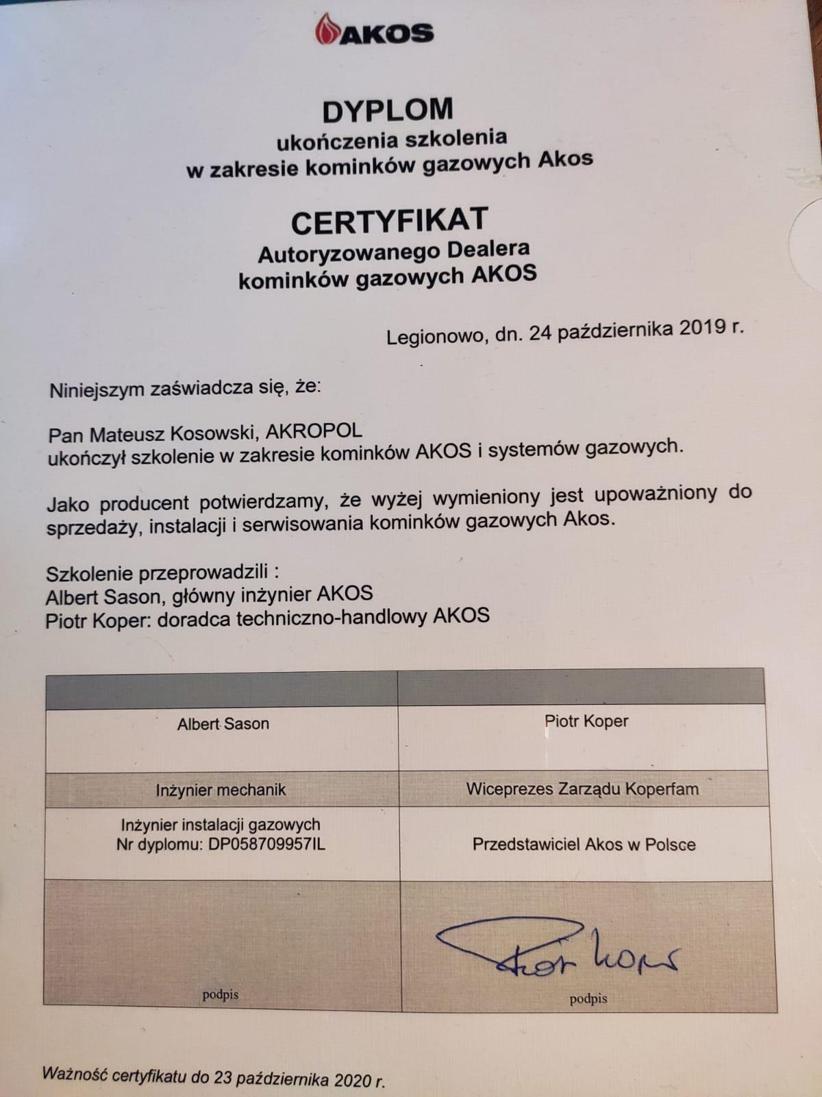 certyfikat akos