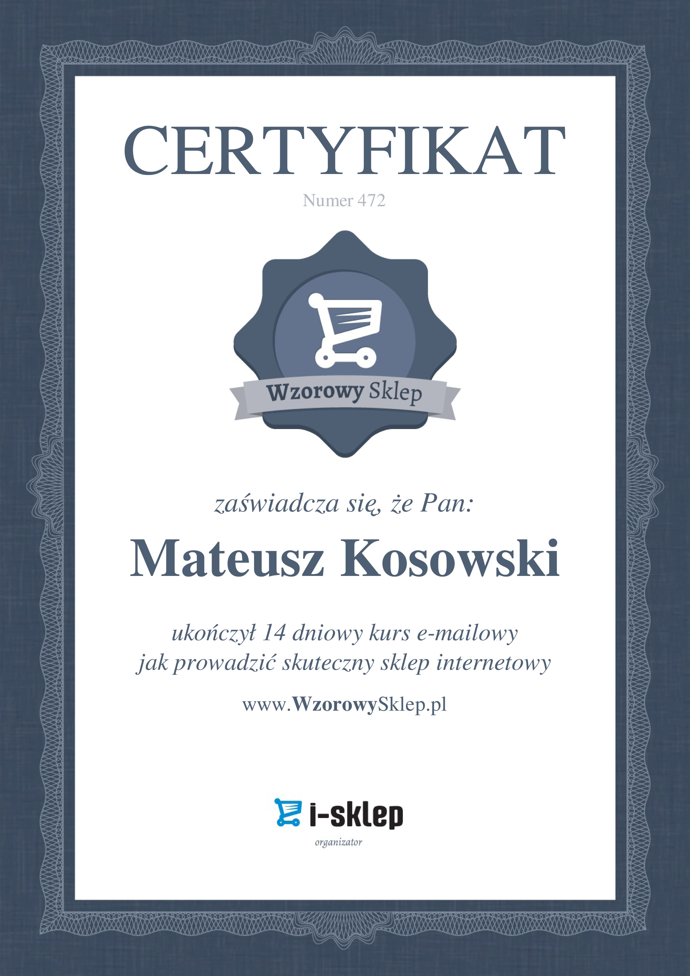 Certyfikat wzorowy sklep